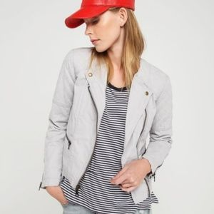 Gap Gray Quilted Moto Jacket Size 0